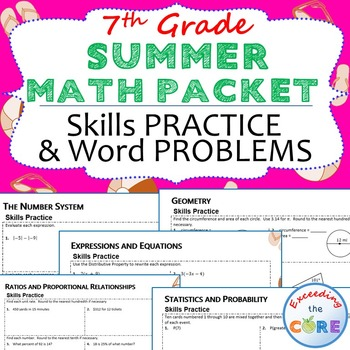 7th Grade SUMMER / June - July MATH PACKET -  { COMMON CORE Assessment }
