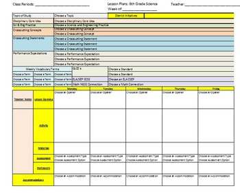 7th Grade Science Lesson Plan Template with NGSS, CCSS, and Michigan GLCE