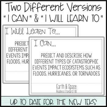 """7th Grade Science TEKS  - """"I Can"""" Statements / """"I Will Learn To"""" Posters"""