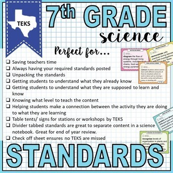 7th Grade Science TEKS I Can Posters and Standards Checklist