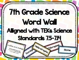 7th Grade Science Word Wall - Watercolor - TEKs Standards