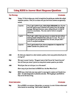 7th Grade Short Answer Response Test Prep