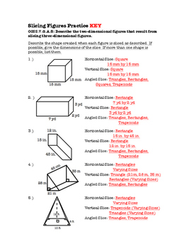 7th Grade Slicing Figures Lesson: FOLDABLE & Homework