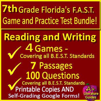7th Grade Smarter Balanced Test Prep SBAC ELA Practice Tests Games Bundle Google