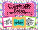 7th Grade Social Studies AERO Posters- Neon Chevron Print