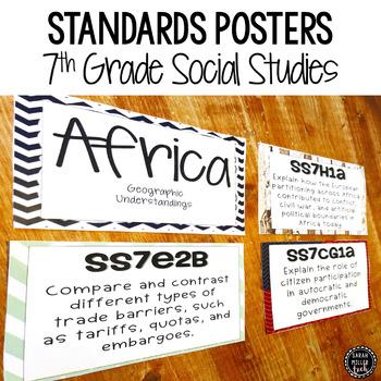 7th Grade Social Studies Standards Posters