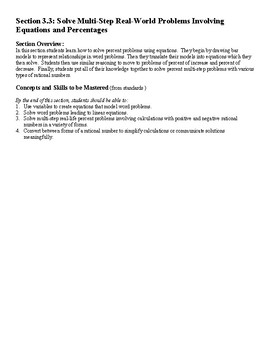 7th Grade Solve MultiStep Real World Problems Equations and Percentages