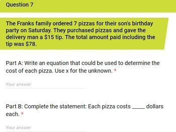 7th Grade Solving Equations Using Algebra Quick Check Google Forms Assessment