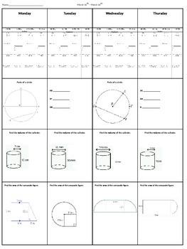 7th Grade Spiral Math Homework
