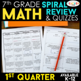 7th Grade Math Review | Homework or Warm Ups | 1st Quarter