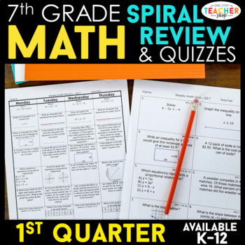 7th Grade Math Spiral Review & Quizzes | Homework or Warm ... on