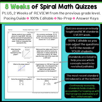 7th Grade Math Spiral Review & Quizzes | Homework or Warm Ups | 1st on