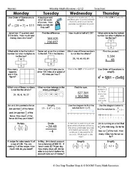 7th Grade Math Spiral Review | 2 Weeks FREE