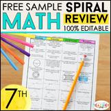 7th Grade Math Spiral Review & Quizzes | FREE