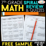 7th Grade Math Spiral Review & Quizzes | FREE