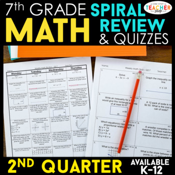 7th Grade Math Review | Homework or Warm Ups | 2nd Quarter