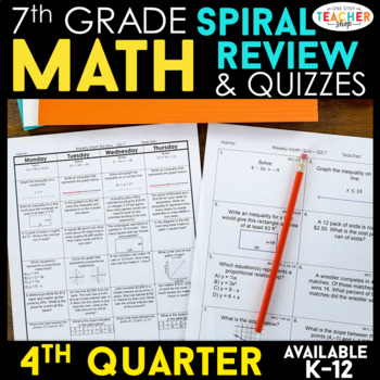 7th Grade Math Spiral Review | 7th Grade Math Homework 7th Grade Math Warm Ups