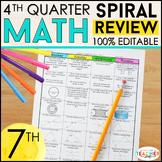 7th Grade Math Review | Homework or Warm Ups | 4th Quarter