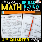 7th Grade Math Spiral Review & Quizzes | Homework or Warm