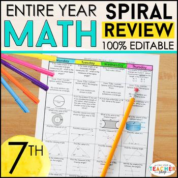 7th Grade Math Spiral Review | 7th Grade Math Homework or Warm Ups