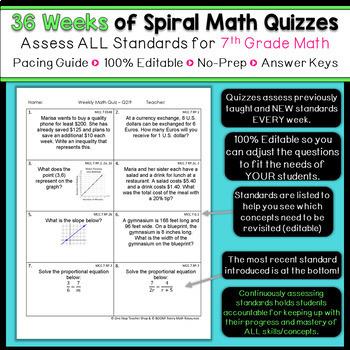 7th Grade Math Spiral Review | 7th Grade Math Review Homework & Quiz BUNDLE