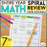 7th Grade Math Spiral Review & Quizzes | Homework or Warm Ups