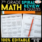 Seventh Grade Math Homework ENTIRE YEAR } EDITABLE