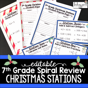 7th Grade Spiral Review - Editable Christmas Stations