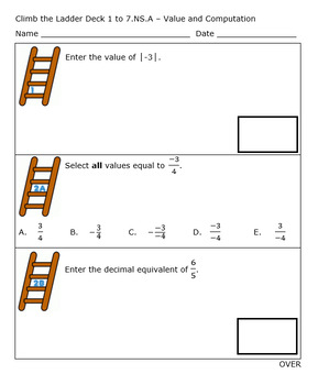 7th Grade Standards Based Grading Rational Numbers Part 2 - Editable