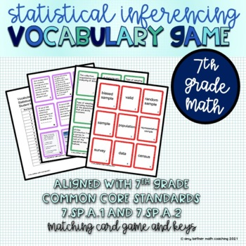 7th Grade Statistical Inferencing Matching Vocabulary Game
