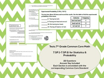 7th Grade Statistics & Probability (7.SP.1-7.SP.8) Common Core Test Assessment