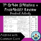 7th Grade Statistics + Probability Review -Breakout Activity-Common Core Aligned