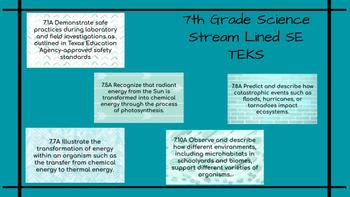 7th Grade Streamlined Science TEKS to Post