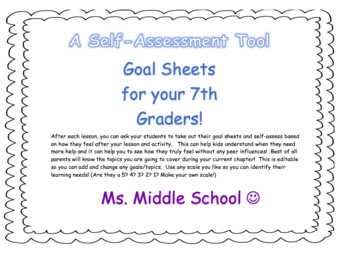 """7th Grade Student friendly """"I can"""" goal sheets"""
