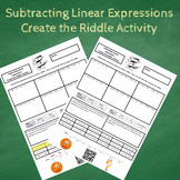 7th Grade Subtracting Linear Expressions Create the Riddle Activity