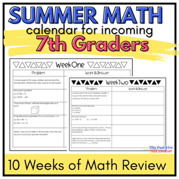 7th Grade Summer Math Review Calendar: 7 Weeks of Common Core Problems