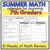7th Grade Summer Math Calendar Packet: 10 Weeks of Review