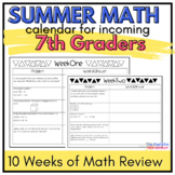 7th Grade Summer Math Review Calendar: 7 Weeks of Common C
