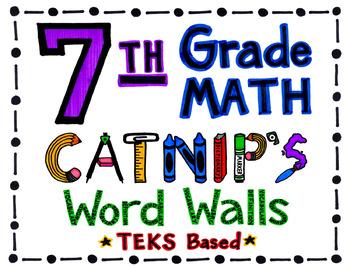 7th Grade TEKS Based Math Word Wall