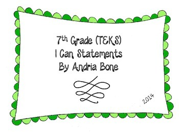 7th Grade TEKS I Can Statement Cards