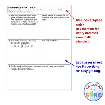 7th Grade THE NUMBER SYSTEM Assessments (7.NS) Common Core