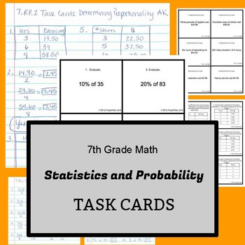 7th Grade Task Cards:  Ratios and Proportional Relationships - CCSS Aligned