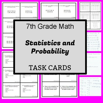 7th Grade Task Cards:  Statistics and Probability - CCSS Aligned