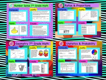 7th Grade Math Common Core Review Bundle~ over 1 month of resources