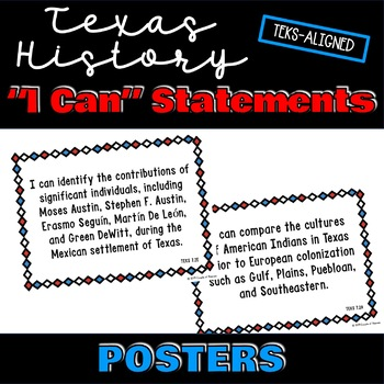 """7th Grade Texas History TEKS """"I Can"""" Statement Posters and Checklist"""