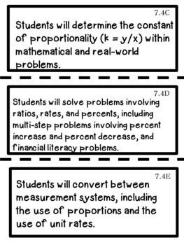 7th Grade Texas TEKS Math Learning Objectives Cards