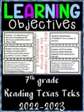 7th Grade Texas TEKS Reading/ Writing Learning Objectives Cards
