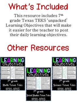 7th Grade Texas TEKS Science Learning Objectives Cards