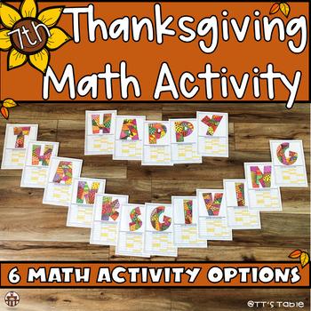 7th Grade Thanksgiving Math Activity
