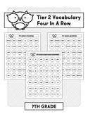 7th Grade Tier 2 Vocabulary Four In A Row (A No Prep Activity)